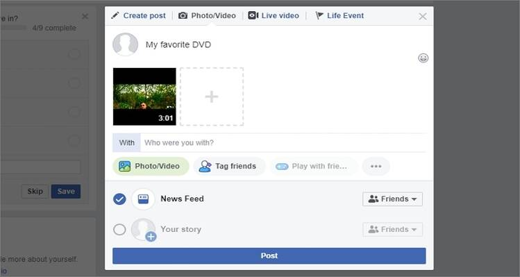 share DVD to Facebook