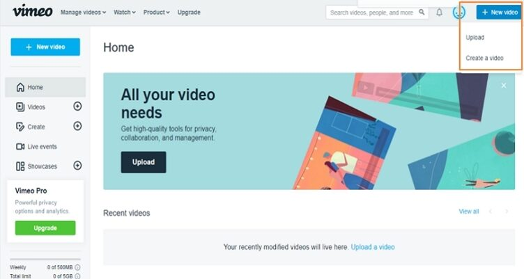load video to Vimeo step 1