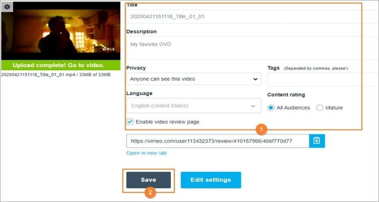 load video to Vimeo step 3