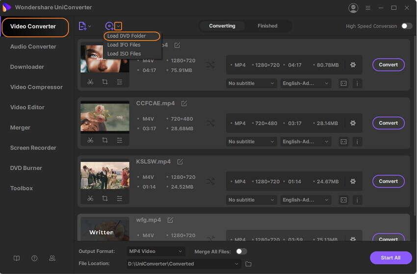 add DVD files to Wondershare DVD to MP4 converter