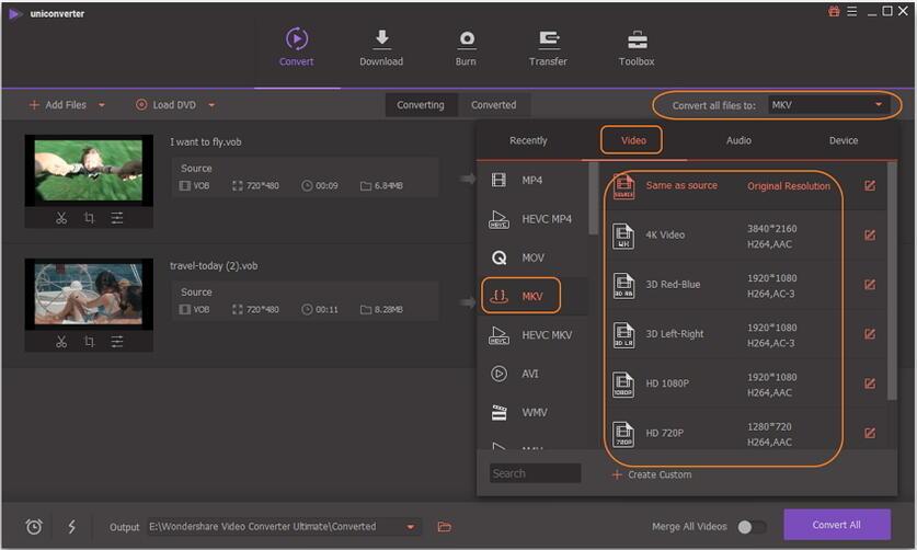 choose mkv as output for vob