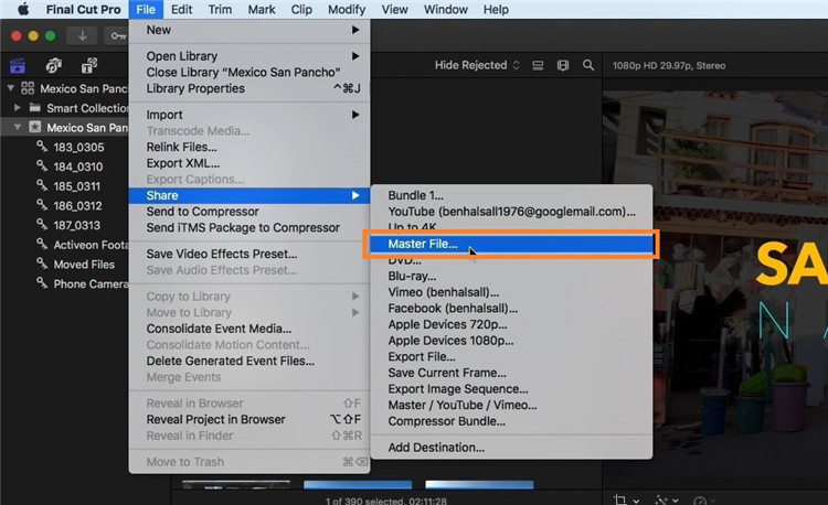 final cut pro export mp4
