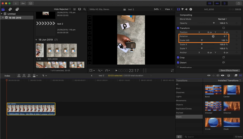 final cut pro rotate video