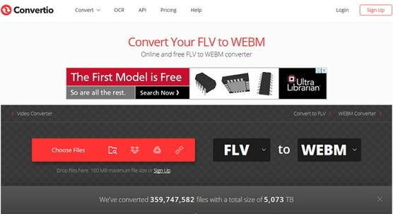 flv to webm online-Convertio