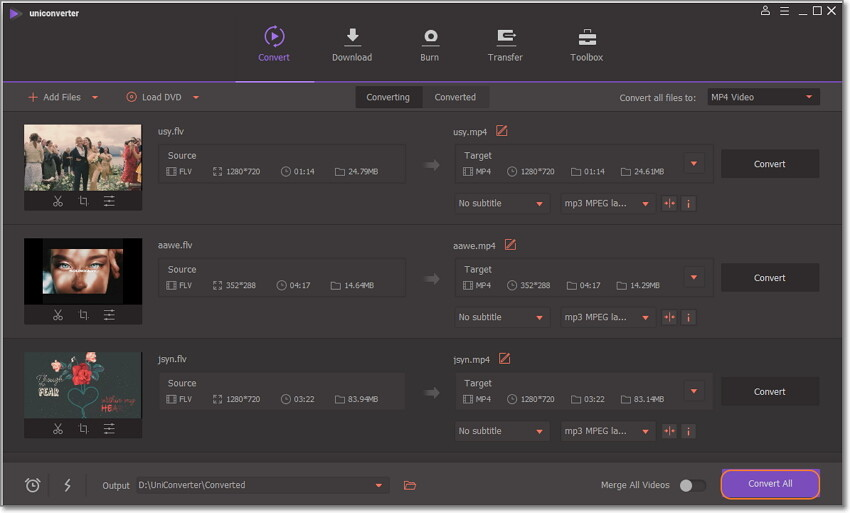 convert all flv to adobe premiere by Uniconverter