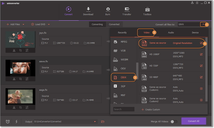 choose Divx as output in wondershare uniconverter