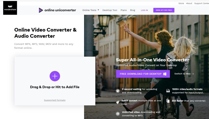 Kostenloser Wondershare online Video Converter
