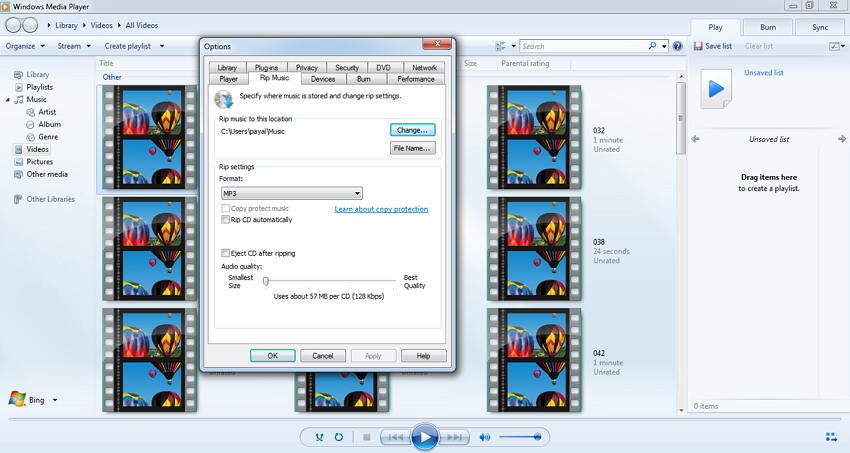convertir video mp3 en Windows Media Player