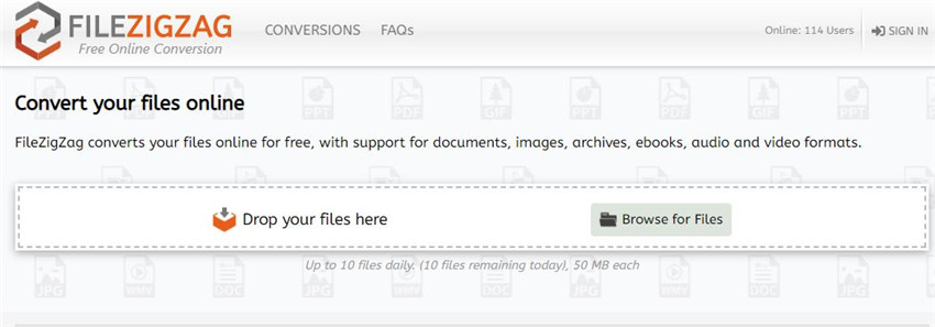 FileZigZag free MP4 converter without watermarks