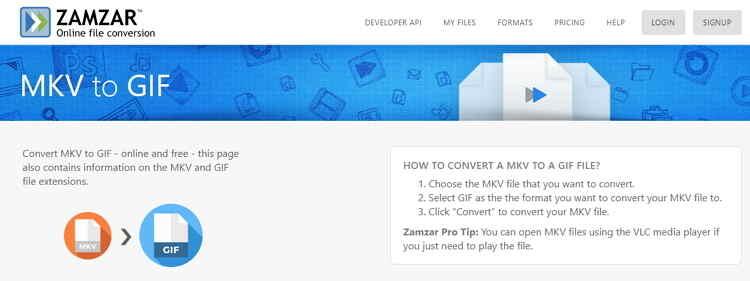 MKV to GIF Online Converter-Zamzar