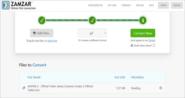 QuickTime to GIF Online Converter-Zamzar