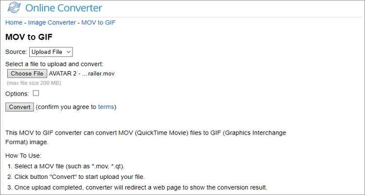 Convert QuickTime to GIF Online -Online Converter