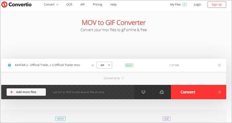 QuickTime to GIF Online Converter-Convertio