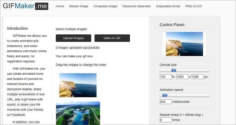 Combine GIFs em um on-line gratuitamente - GIFMaker