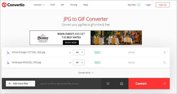 convert JPEG to GIF for Free-Convertio