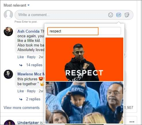 search the gif in facebook