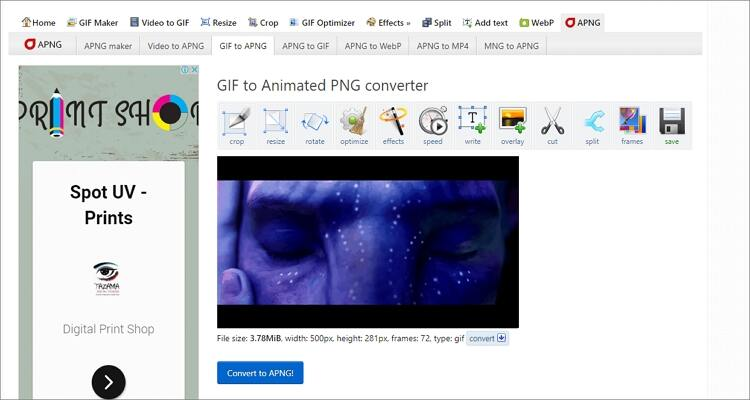 convert GIF to PNG online - Ezgif
