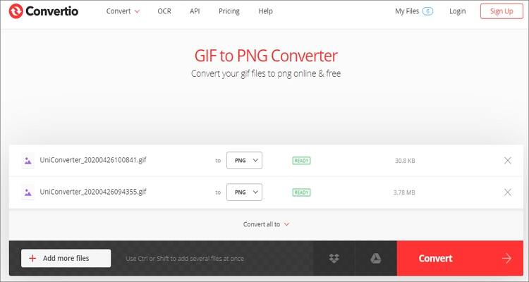 convert GIF to PNG online - Convertio