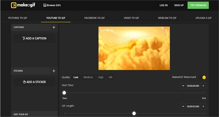 Make YouTube to GIF Online Free -Makeagif