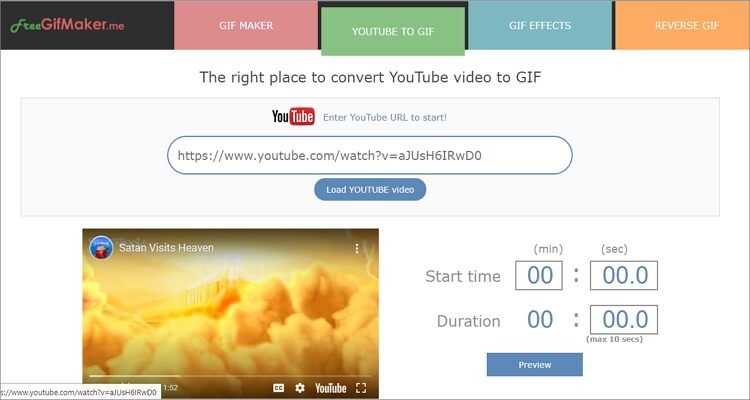 Make YouTube to GIF Online Free -FreeGifMaker