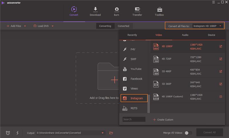 select output format wondershare uniconverter