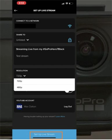 iniciar gopro live stream youtube