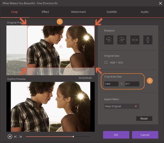 crop for video adjustmet
