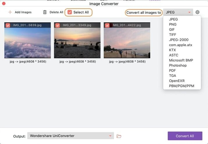 select output format for selected images