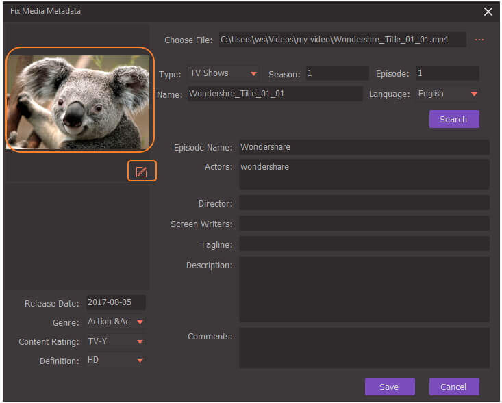 edit video metadata