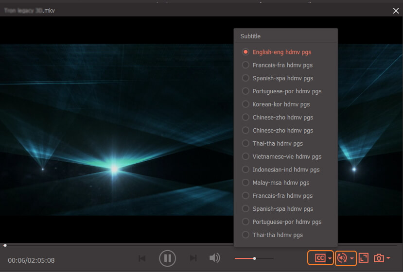 play video with subtitles and audio tracks