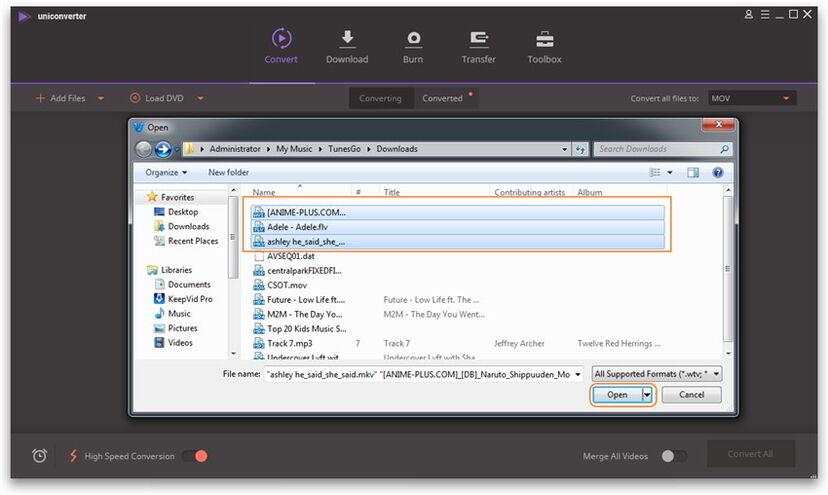 Загрузка медиа-файлов с помощью выбора данной функции в программе