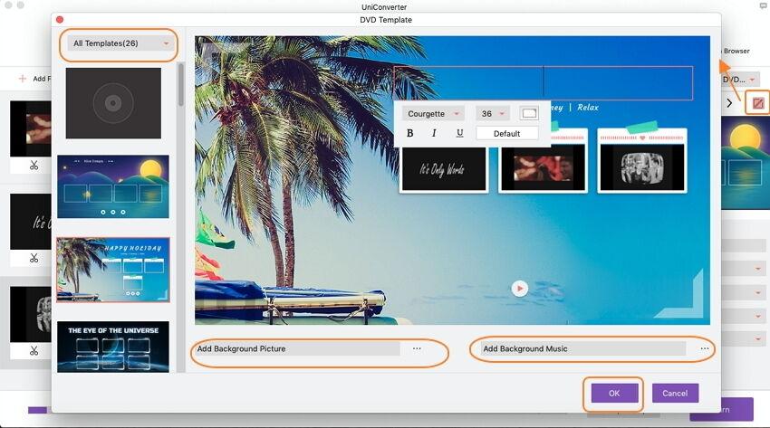 customize DVD menu with themes