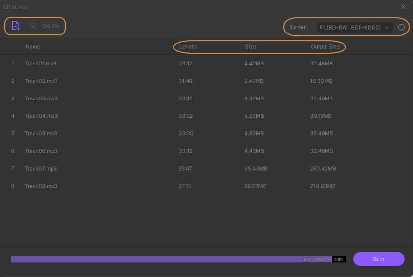 check audio files and choose burner