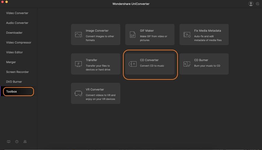 choose CD converter option on Mac