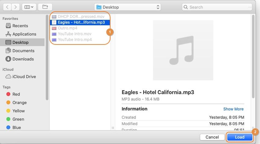 charger les fichiers à partir de Mac