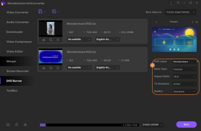 personalizar configurações de dvd