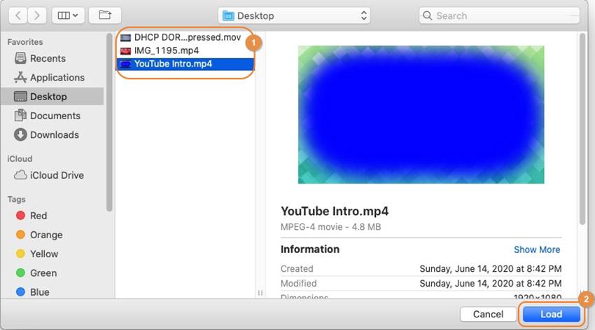 charger la vidéo à partir de Mac
