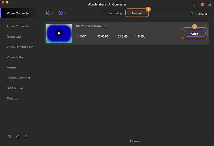 ouvrir la vidéo convertie