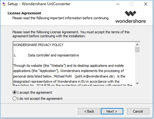 Instalar Wondershare Video Converter Ultimate - lea el acuerdo de licencia y navegue la carpeta de destino