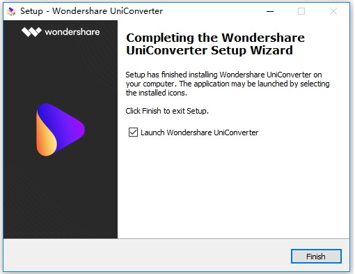 Intall Wondershare UniConverter - Launch Wondershare UniConverter