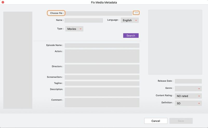 add video to metadata fix tool on Mac