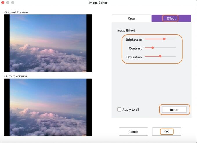 adjust effects to images