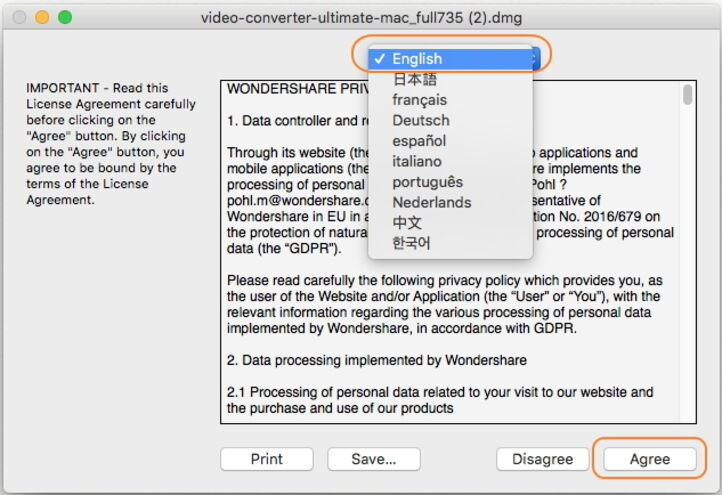 Install Wondershare UniConverter for Mac - run the program