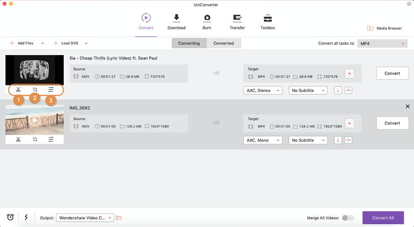 edit videos before conversion optional