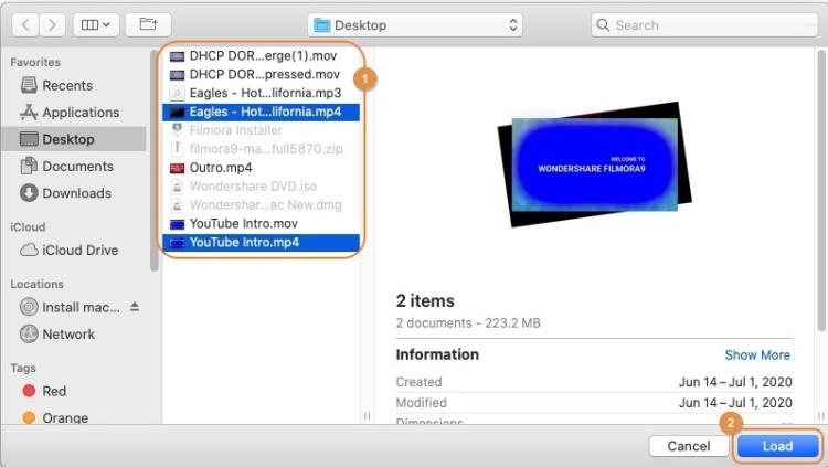 Mehrere Videos importieren
