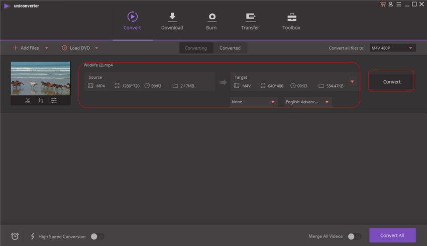 MP4 zu M4V auf Mac konvertieren - konvertieren Symbol klicken