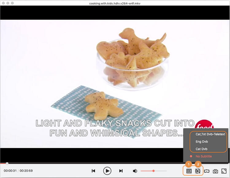 playback video with selected subtitles and audio tracks