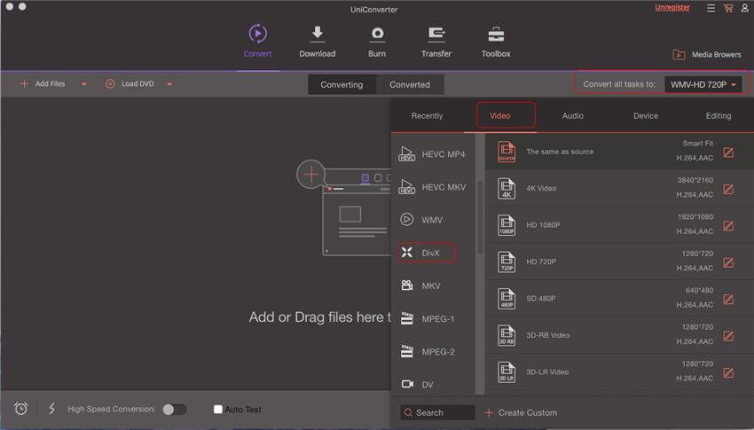 Convertir un MP4 en DivX sous Mac - Sélectionner DivX comme format de sortie