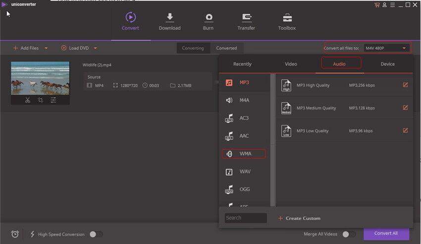 MP4 zu WMA Online konvertieren - WMA als Output Format wählen