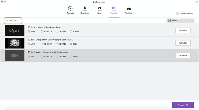 add videos to transfer